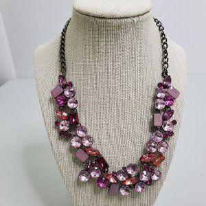 Rhinestone Statement Necklace Pink Gunmetal Gray S